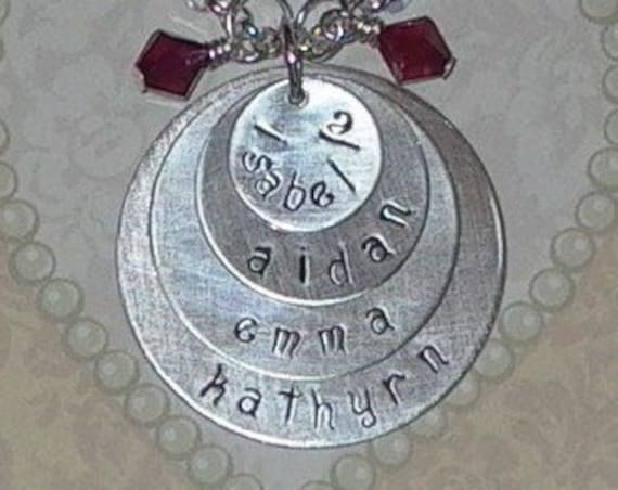 Four Circle Hand Stamped Sterling Silver Mothers Celebration Name Necklace