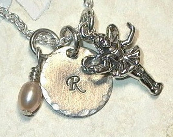 Fairy Hand Stamped Sterling Silver Petite Initial Charm Necklace