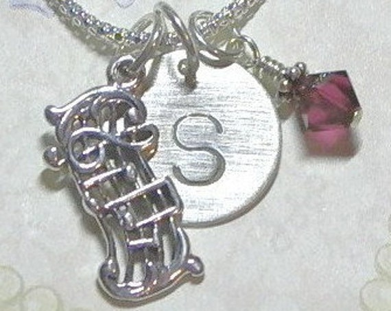 Musical Scale Notes Hand Stamped Sterling Silver Initial Charm Necklace