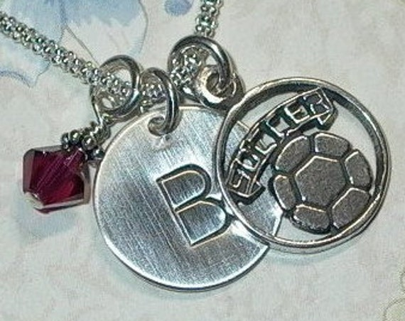 Personalized Soccer Hand Stamped Sterling Silver Initial Charm Necklace