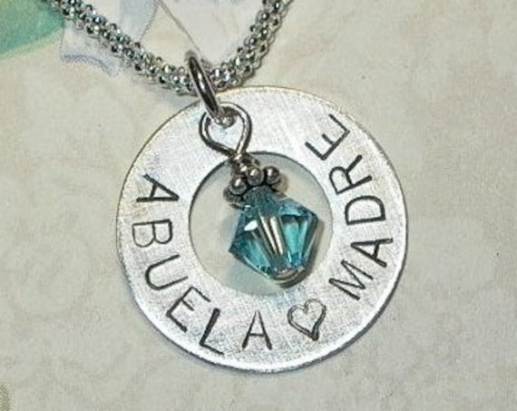 Abuela Madre Mothers Hand Stamped Sterling Silver Birthstone Washer Charm Necklace