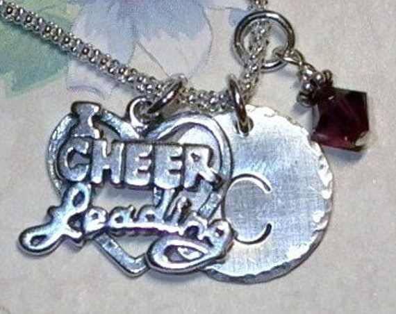 I Love Cheerleading Hand Stamped Sterling Silver Initial Charm Necklace