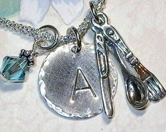 Spoon Fork Knife Kitchen Utensils Hand Stamped Sterling Silver Initial Charm Necklace