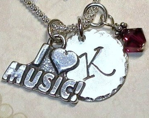 Personalized I Love Music Hand Stamped Sterling Silver initial Charm Necklace