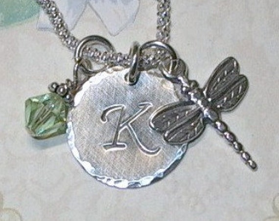 Personalized Dragonfly Hand Stamped Sterling Silver Initial Charm Necklace
