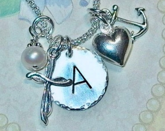 Faith Hope Charity Cross Heart Anchor Hand Stamped Sterling Silver Personalized Initial Charm Necklace