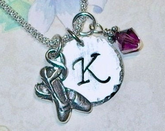 Personalized Ballet Slipper Hand Stamped Sterling Silver Initial Charm Necklace