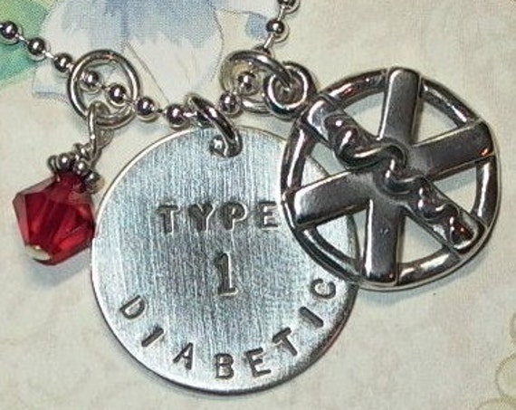 Personalized Medical Alert Hand Stamped Sterling Silver Charm Necklace
