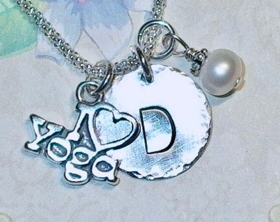 Personalized I love Yoga Hand Stamped Sterling Silver Initial Charm Necklace