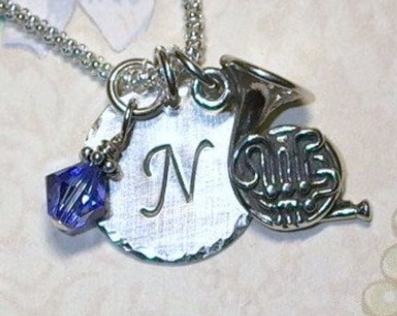 Personalized French Horn Hand Stamped Sterling Silver Initial Charm Necklace