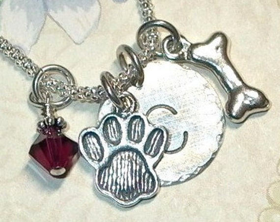 Personalized Dog Lover Hand Stamped Sterling Silver Initial Dog Paw and Bone Charm Necklace