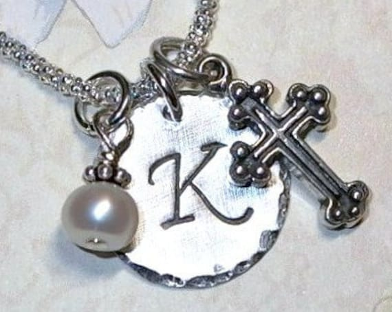Personalized Medium Cross Hand Stamped Sterling Silver Initial Charm Necklace