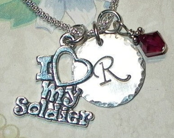 I love my Soldier Hand Stamped Sterling Silver Initial Charm Necklace, Military Mom Girlfriend Wife Jewelry