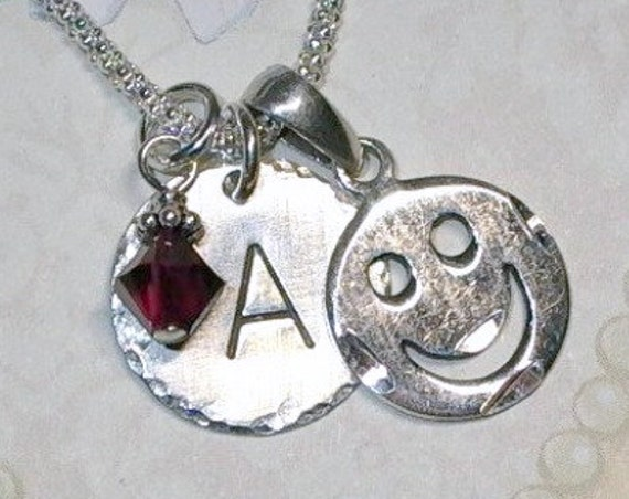 Smiley Face LOL Hand Stamped Sterling Silver Initial Charm Necklace