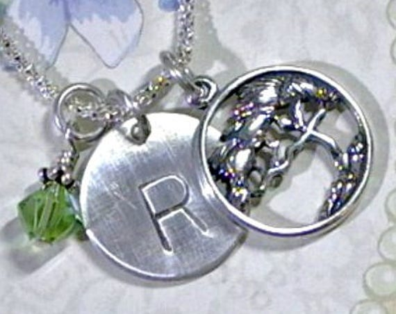 Personalized Cypress Tree Hand Stamped Sterling Silver Initial Charm Necklace