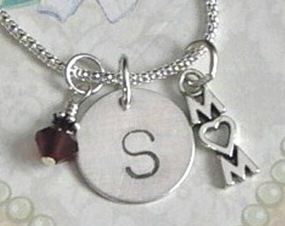 Personalized Mom Hand Stamped Sterling Silver Initial Charm Necklace with Birthstone Dangle