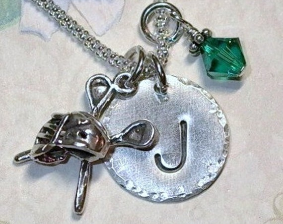 Personalized Lacrosse Hand Stamped Sterling Silver Initial Charm Necklace
