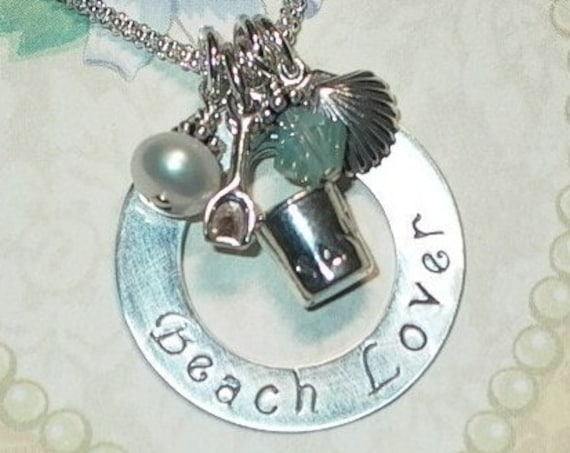 Beach Lover Hand Stamped Sterling Silver Charm Necklace