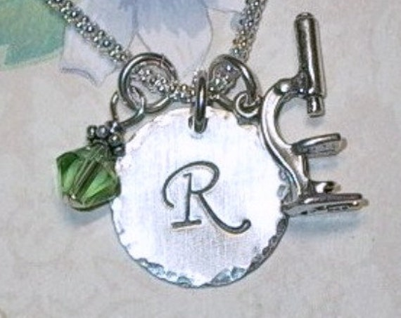 Personalized Microscope Hand Stamped Sterling Silver Initial Charm Necklace