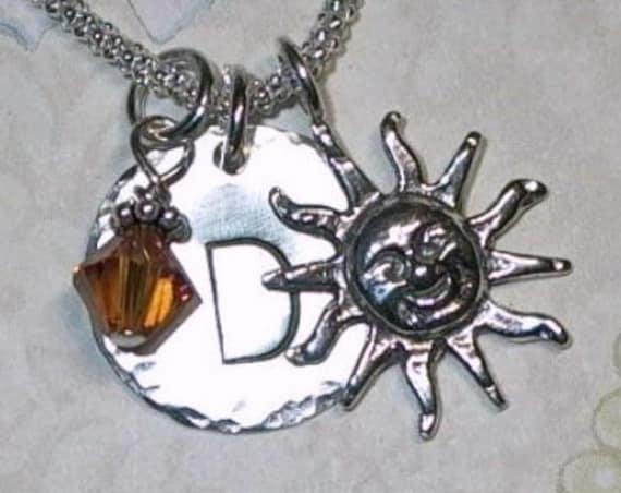 Sunshine Hand Stamped Sterling Silver Initial Sun Charm Necklace