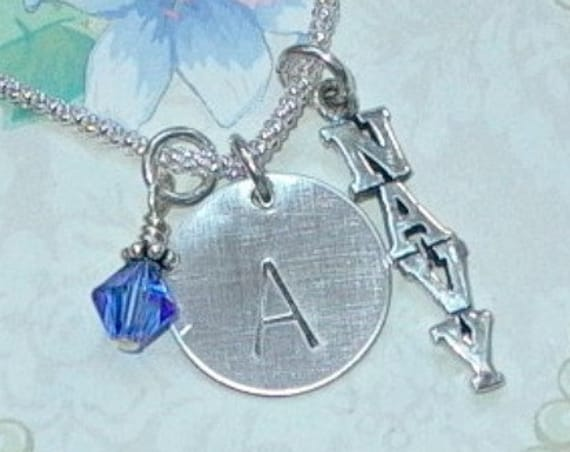 Personalized Navy Military Hand Stamped Sterling Silver Initial Charm Necklace
