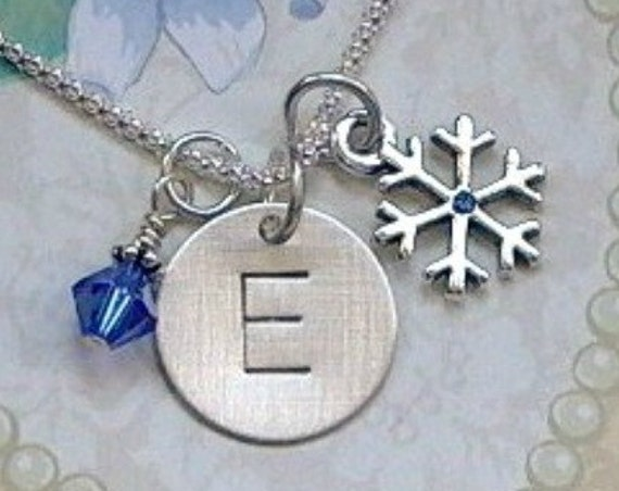 Personalized Snowflake Hand Stamped Sterling Silver Initial Charm Necklace