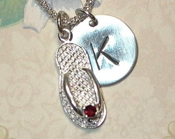 January Garnet Birthstone Flip Flop Hand Stamped Sterling Silver Initial Charm Necklace