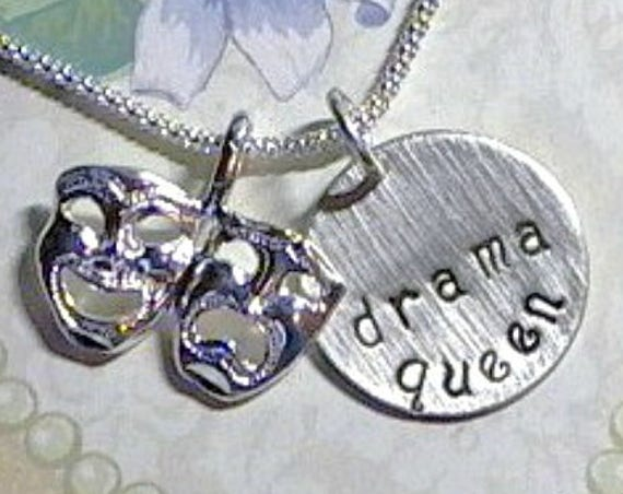 Drama Queen Comedy Tragedy Mask Hand Stamped Sterling Silver Charm Necklace