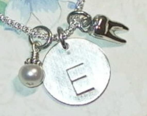 Personalized Tooth Hand Stamped Sterling Silver Initial Charm Necklace