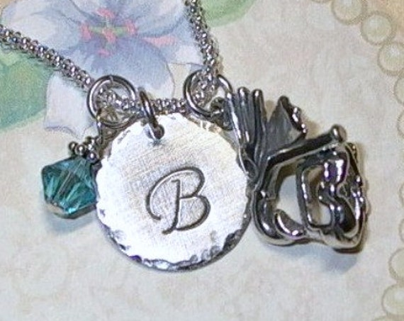 Personalized Flipper Mask and Snorkel Hand Stamped Sterling Silver Initial Charm Necklace