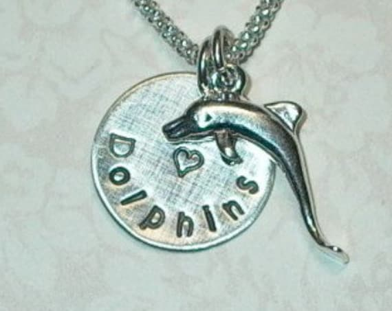 I Love Dolphins Hand Stamped Sterling Silver Charm Necklace