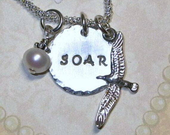 Soar Seagull Hand Stamped Sterling Silver Charm Necklace