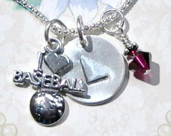 Personalized I Love Baseball Hand Stamped Sterling Silver Initial Charm Necklace