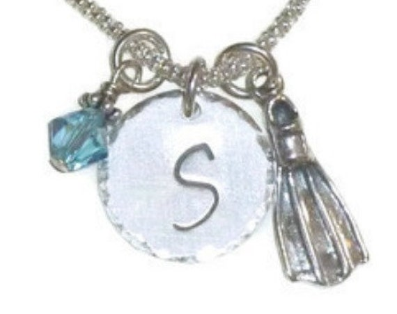 Scuba Diving Fin Hand Stamped Sterling Silver Initial Charm Necklace