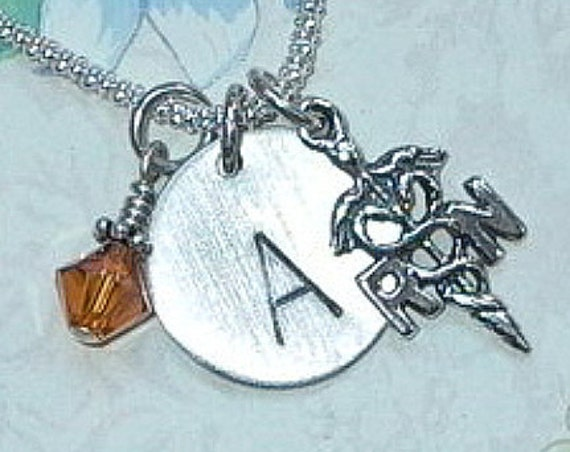 Personalized RN Nurse Hand Stamped Sterling Silver Initial Charm Necklace