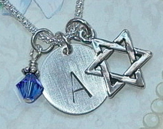 Personalized Star of David Hand Stamped Sterling Silver Initial Charm Necklace