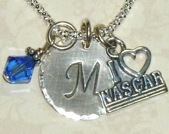 I love Nascar Hand Stamped Sterling Silver Initial Charm Necklace