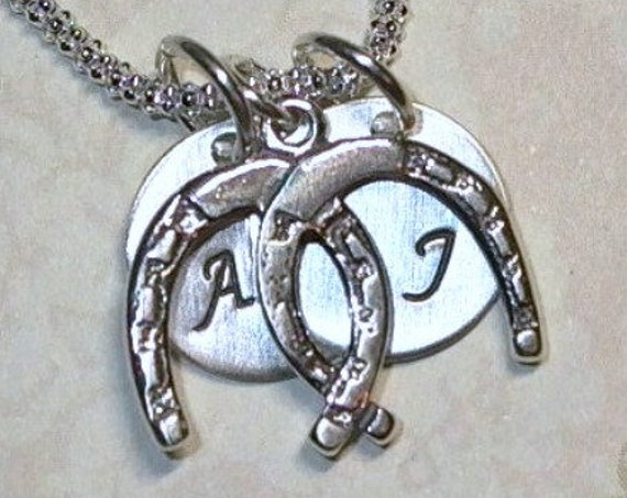 Personalized Lucky in Love Double Horseshoe Hand Stamped Sterling Silver Initial Charm Necklace