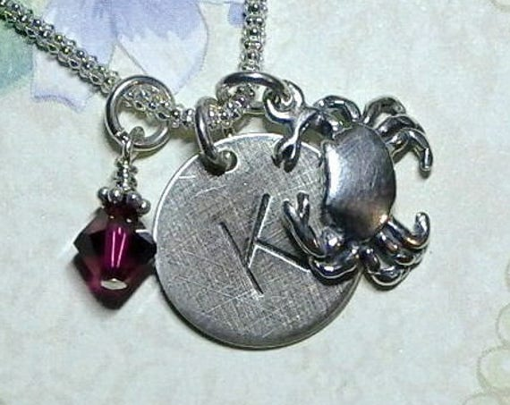 Personalized Crab Hand Stamped Sterling Silver Initial Charm Necklace