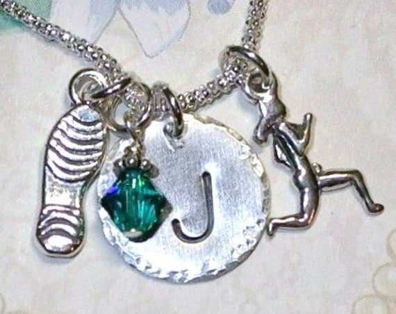 Personalized Marathon Runners Hand Stamped Sterling Silver Initial Charm Necklace