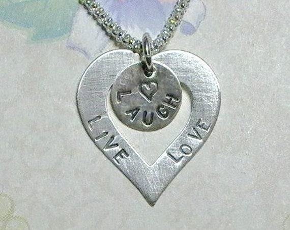 Live Laugh Love Hand Stamped Sterling Silver Heart Washer Necklace