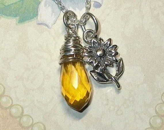 Sunflower Citrine Quartz Briolette Sterling Silver Charm Necklace
