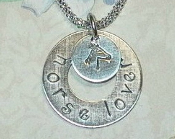 Sterling Silver Equestrian Personalized Horse Name Washer Necklace