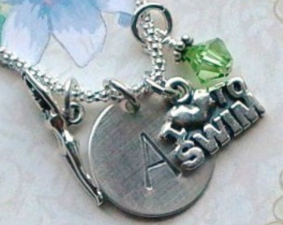 Swimmers I love to Swim Girl Hand Stamped Sterling Silver Initial Charm Necklace
