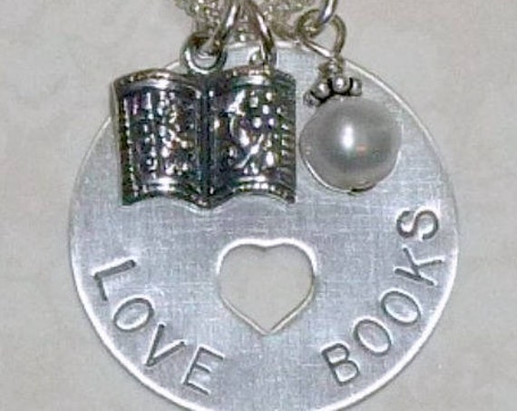 Book Lover Hand Stamped Sterling Silver Heart Cut Out Necklace
