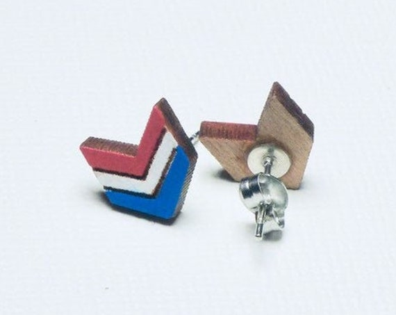 Hand Painted Laser Cut Wood Red White and Blue Chevron Stud Earrings