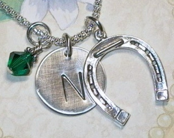 Personalized Equestrian Horseshoe Hand Stamped Sterling Silver Initial Charm Necklace