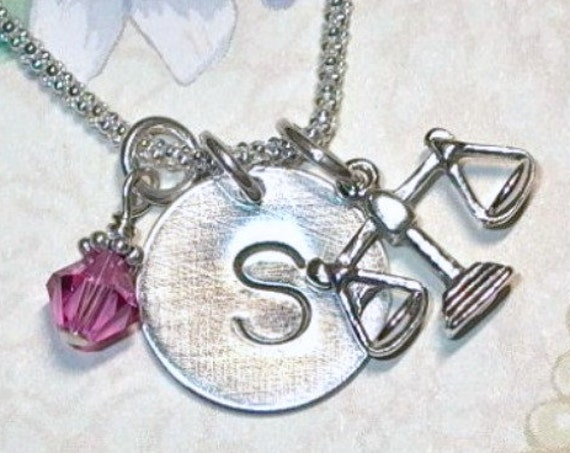 Scales of Justice Libra Zodiac Hand Stamped Sterling Silver Initial Charm Necklace