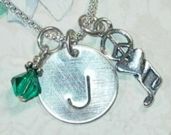 Peace Love Music Hand Stamped Sterling Silver Initial Charm Necklace