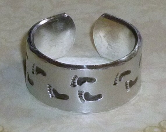 Foot Prints Hand Stamped Aluminum Wide Band Ring
